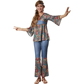 dressforfun 900522 - Damenkostüm Hippie Girl Harmony, Outfit in Jeans- und Ornamentenoptik inkl. Stirnband