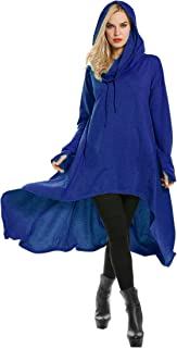 High Low String Hoodie Tunic Sweatshirts Hooded Cloak Dress with Pocket