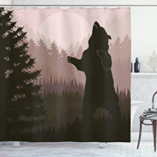Ambesonne Nature Shower Curtain, Silhouette of Wild Bear in The Jungle Woodland at Dark Night Illustration, Cloth Fabric Bathroom Decor Set with Hooks, 70