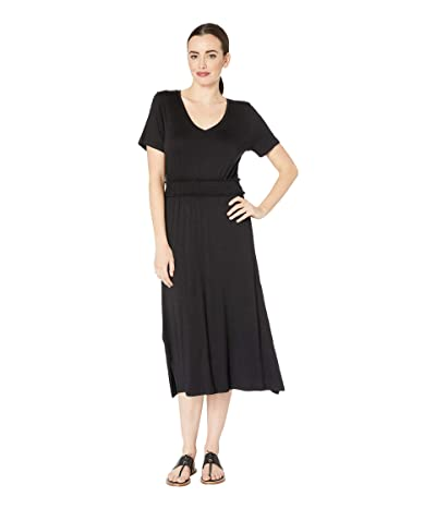 B Collection by Bobeau Simone Short Sleeve Smocked Waist Dress (Black) Women