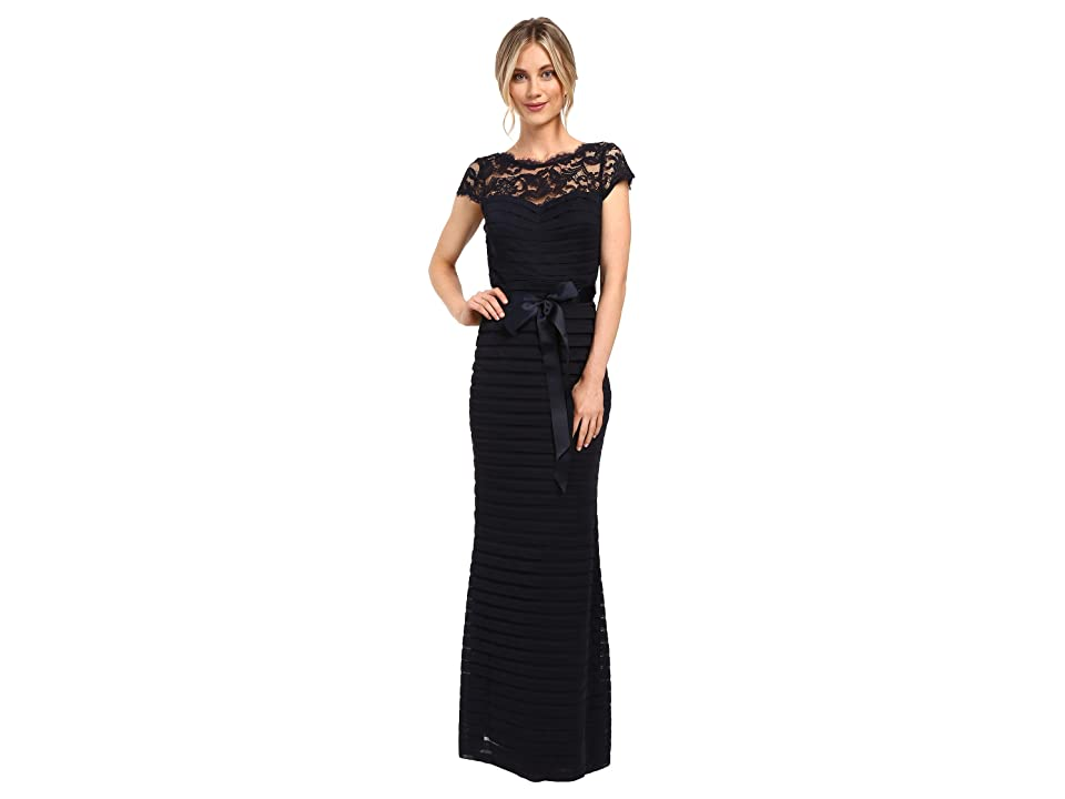 Adrianna Papell Large Tucked Stretch Tulle Gown (Ink) Women