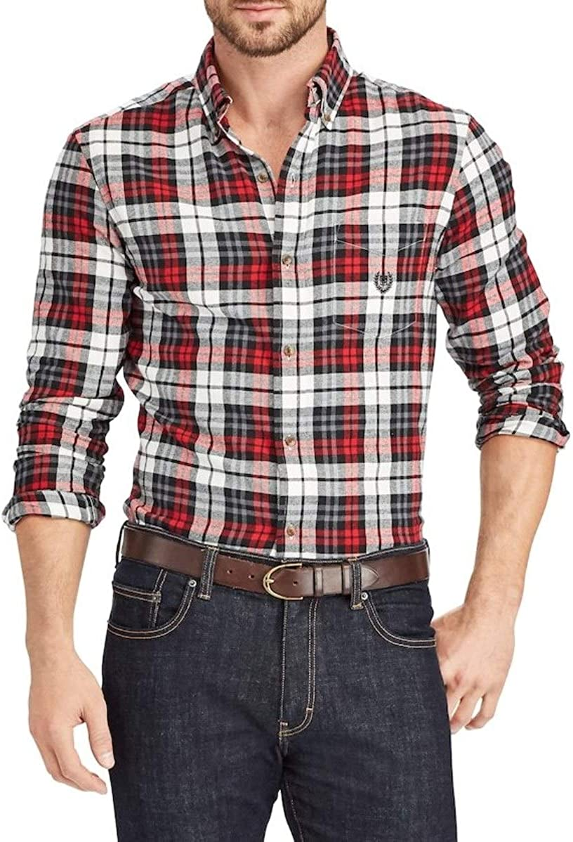 Chaps Mens Classic Fit Performance Flannel Plaid Casual Shirt Red White Charcoal