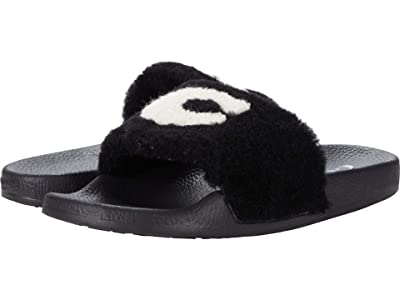 COACH Ulla Slide (Black Shearling) Women