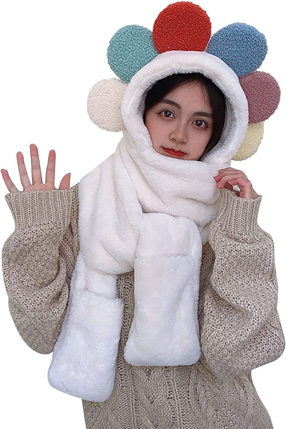 Women Girls Cute Women Flower Plush Scarf 3in1 Warm Plush Hooded Scarf with Mittens Colorful Plush Balls Cap for Winter