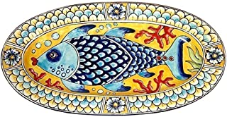 CERAMICHE D'ARTE PARRINI - Italian Ceramic Art Serving Tray Plate Pottery Hand Painted Made in ITALY Tuscan Decorated Fish