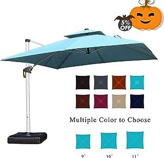 PURPLE LEAF 9 Feet Double Top Deluxe Square Patio Umbrella Offset Hanging Umbrella Cantilever Umbrella Outdoor Market Umbrella Garden Umbrella, Turquoise Blue