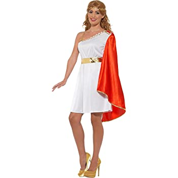 Smiffys Lady Costume Disfraz de señora Romana, Color Blanco y Rojo ...