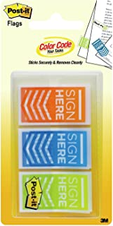 "Post-it Message Flags, ""Sign Here"", 60 Flags/Pack, 1 in Wide, Orange, Blue, Green (682-SH-OBL)"