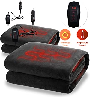 Zone Tech Car Heated Travel Blanket - Fireproof 2 Pack Classic Black Premium Quality 12V Automotive Comfortable Heating Car Seat Blanket Great for Long Trips and Camping