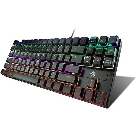 STOGA Teclado Americano Mecánico,Teclado Gaming con USB Cable 13 Tipos de Retroiluminación LED Azul Interruptor Máquina de escribir Teclado PC, 87 ...