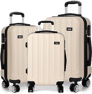 Kono Hartschale Koffer Trolley Leicht ABS 4 Räder Beige Reisekoffer Taschen Gepäck Set