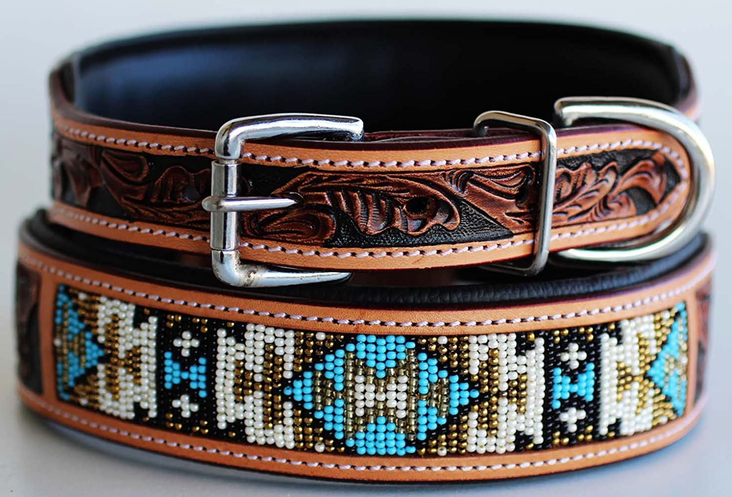 Dog Puppy Collar Cow Leather Adjustable Padded Canine 6063