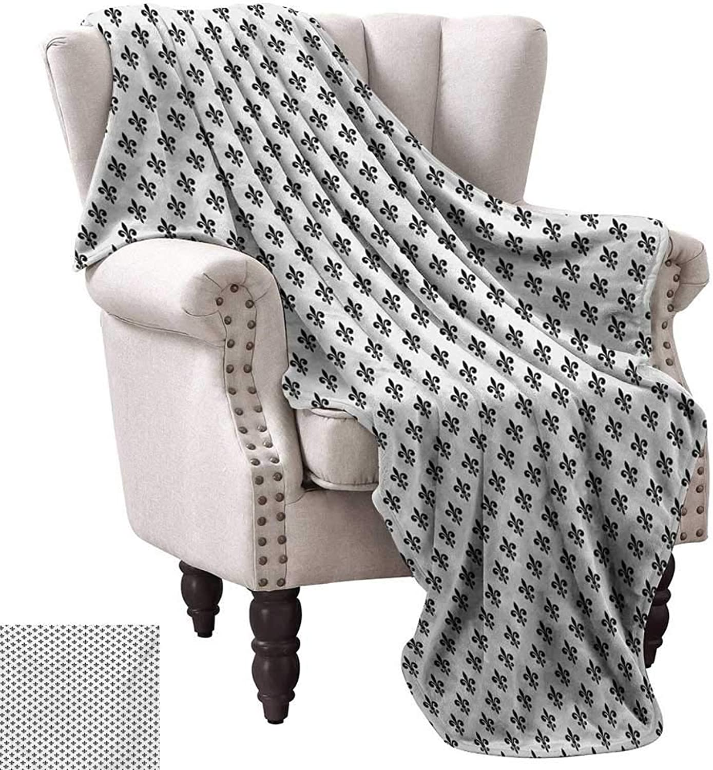 Lightweight Blanket,Royal Lily Pattern Antique Style Medieval Symbol Vintage Monochrome Ornament 90 x70 ,Super Soft and Comfortable,Suitable for Sofas,Chairs,beds