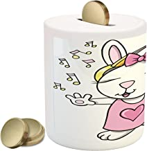 Ambesonne Bunny Piggy Bank, Rock Star Rabbit Bunny with Speakers Music Notes Girls Humor Heart Cartoon, Ceramic Coin Bank Money Box for Cash Saving, 3.6