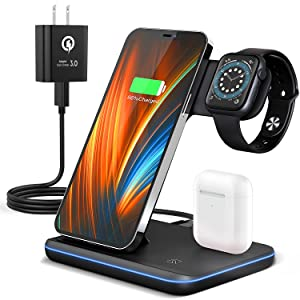 Wireless Charging Station, 2021 Upgraded 3 in 1 Wireless Charger Stand with Breathing Indicator Compatible with iPhone 12/11 Pro/XS/XR/8, Watch 6/SE/5/4/3 & AirPods