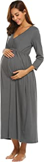 Women's Maternity Dress 3/4 Sleeve Solid Wraped Ruched Nursing Dress for Breastfeeding