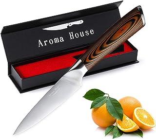 Aroma House Couteau à Fruits Couteau de Cuisine Petit Couteau d'office de 10 cm Lame forgée très tranchante Poignée Ergono...