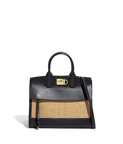 Salvatore Ferragamo The Studio Natural Satchel (Cammello/Nero) Handbags