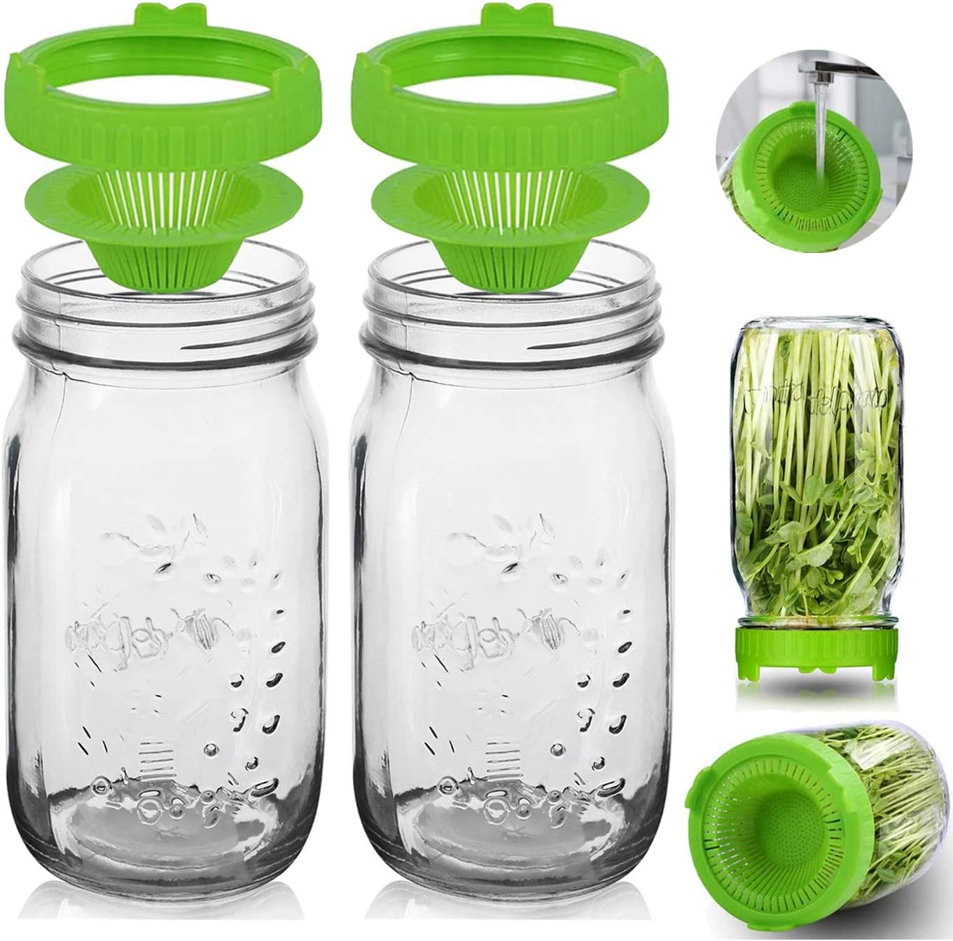 Sprout Growing Kit - 2 [Alternative dealer] Wide of Mason Jar Limited time trial price Mouth 36oz Sprouting