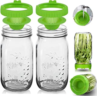 Sprout Growing Kit - 2 Wide Mouth Mason Sprouting Jar of 36oz & 2 Easy Rinse & Drain Sprouting Jar Lids - Use for Growing ...