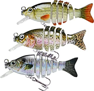 TRUSCEND Fishing Lures for Bass Trout Segmented Multi Jointed Swimbaits Slow Sinking Swimming Lures for Freshwater Saltwat...