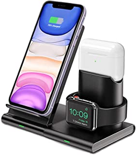 Innoo Tech Wireless Charger, 3 in 1 Wireless Charging Station for Apple Watch Series 5/4/3/2, Airpods Pro/2, 7.5W Qi Fast ...