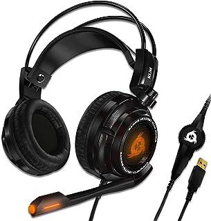 KLIM Puma – Cascos Auriculares Gaming con micrófono – Sonido Envolvente 7.1 Audio – Vibración integrada – Negro – Ideales para Jugar en PC y PS4 [ Nueva 2020 Versión ]