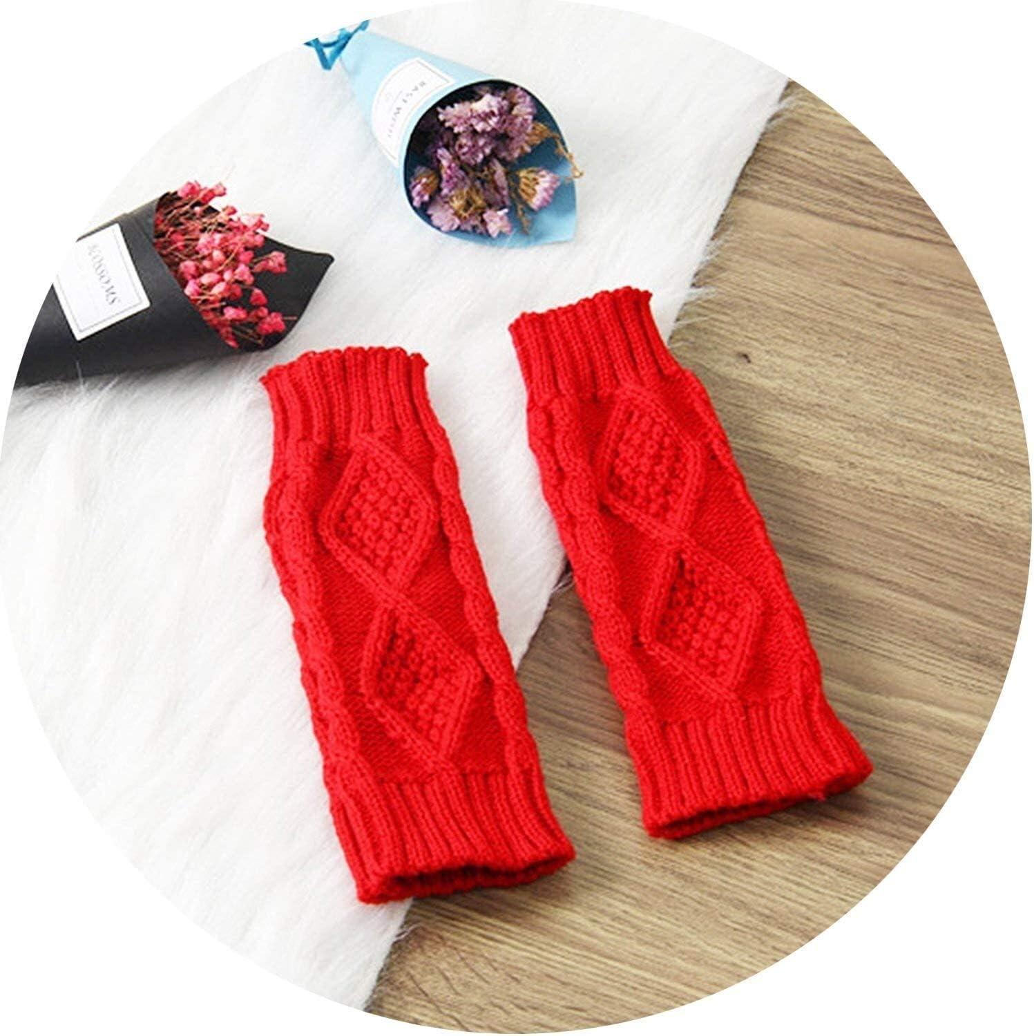 Samantha Warm Gloves Women Fingerless Gloves Winter Gloves Arm Crochet Knitting Faux Wool Mitten Gloves (Color : Red, Size : Oneszie)