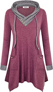 AxByCzD Womens Cowl Neck Uneven Hem Hoody Tunic Casual Sweatshirts with Pockets