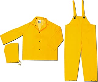 MCR Safety 2003X5 Classic PVC/Polyester 3-Piece Rainsuit with Attached Hood, Yellow, 5X-Large