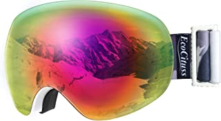 ECOCITUSS OTG Ski Goggles Snowboard Goggles Anti Fog Snow Goggles for Men Women Youth,100% UV Protection,Windproof Helmet Compatible Dual Lens Goggles for Skiing & Skating & Outdoor Sport