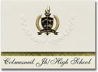 Signature Ankündigungen colmesneil JH High School (colmesneil, TX) Graduation Ankündigungen, Presidential Stil, Elite Paket 25 Stück mit Gold & Schwarz Metallic Folie Dichtung B078WGHRX2  Modebewegung