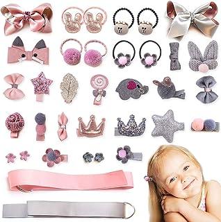 18-36PCS Baby Girl's Hair Accessories Clips Cute Hair Bows Baby Elastic Hair Ties Gift Box