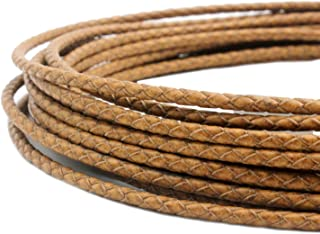 5 Yards 3mm Braided Leather Strap Round Folded Leather Cord Bracelet Necklace Making Bolo Tie (Tan Distressed)