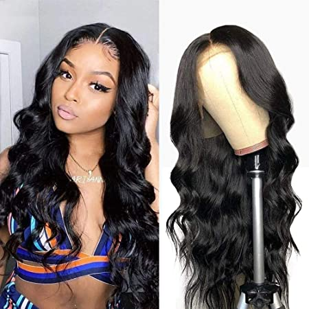 Amazon Com 13x4 Lace Front Wig Human Hair Pre Plucked With Baby Hair Glueless Body Wave Wig Natural Hairline For Black Women Beauty
