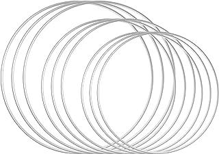 DILNAZ ART 9 PCS 3 Sizes Metal Floral Hoop Wreath Macrame Silver Hoop Rings for DIY Floral Macrame Hoop, Wedding Wreath De...