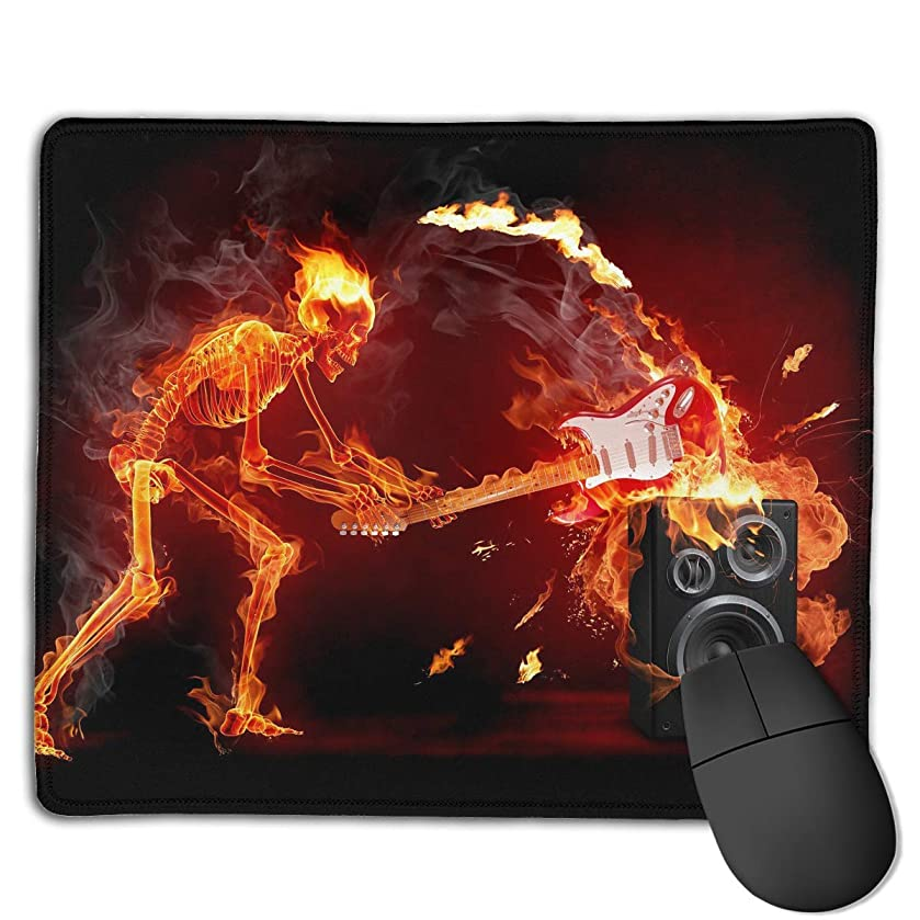 Customized Design Rectangle Non-Slip Rubber Gaming Mousepad (Fire Skeleton Guitars Art)