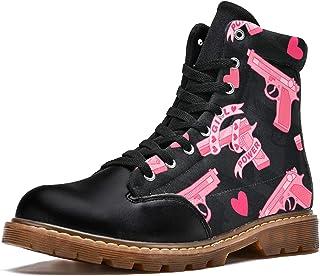 LORVIES Coeur de Pistolet de la Saint-Valentin Bottes d'hiver Chaussures Montantes en Toile à Lacets pour Hommes