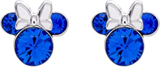 Minnie Mouse Birthstone Jewelry, Silver Plated Crystal Stud Earrings for Women and Girls Mickey's 90th Birthday Anniversary (More Colors Available)