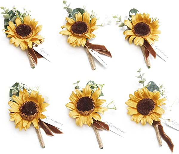 Ling S Moment Sunflower Boutonniere For Men Wedding Yellow Boutonniere With Pins Set Of 6 For French Fall Rustic Boho Wedding
