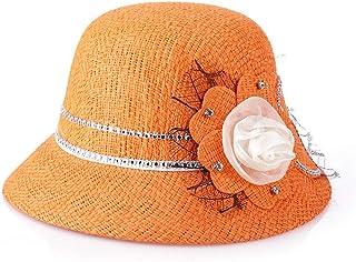 HMJZLywei Spring and Summer New Ladies hat Linen Fashion Visor Sun hat Sun hat Bonnet (Color : Orange, Size : 56-58cm)
