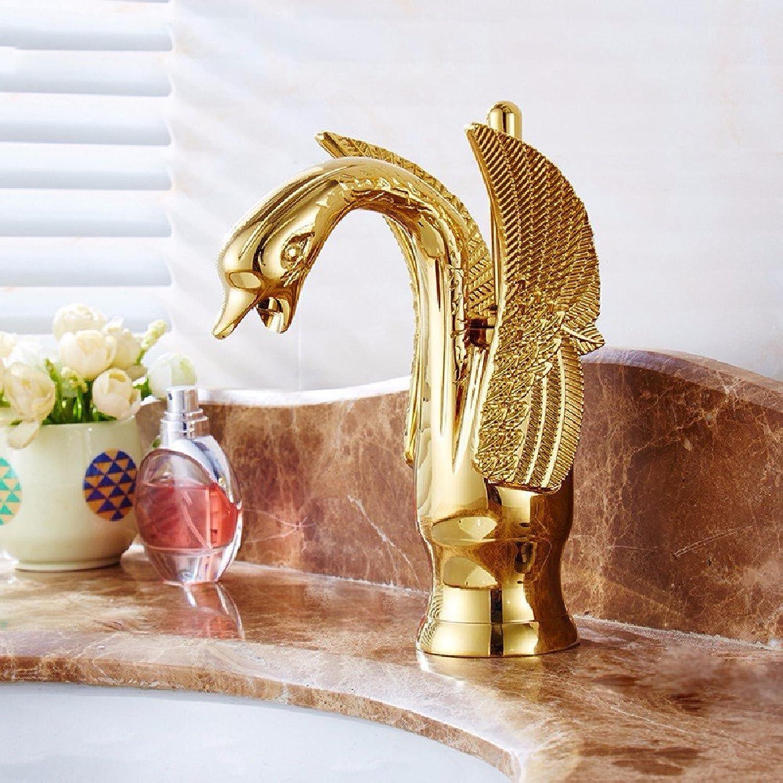 Bijjaladeva Wasserhahn Bad Wasserfall Mischbatterie Waschbecken Waschtisch Armatur Waschbeckenarmatur für BadezimmerFarbe Messing Antik Swan heien und Kalten Becken Gold Tippen