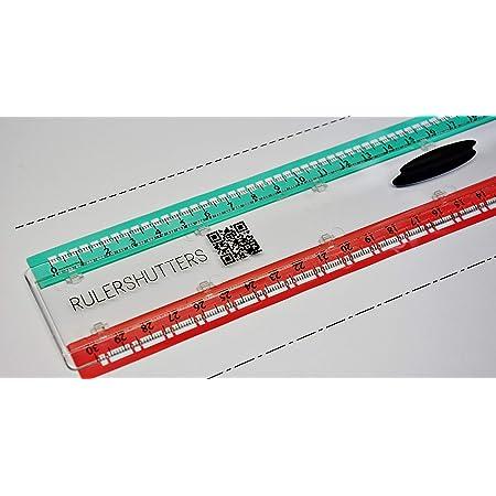 RULERSHUTTERS Règle 30 cm, spéciale Traits pointillés et Mixtes, Dessin Technique, Dessin d'architecte, schémas électriques, Scrapbooking, carterie, stylisme