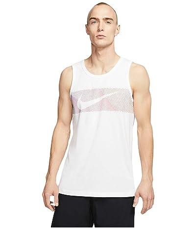 Nike Big Tall Dri-FITtm Cotton Tank Linear Vision (White/Hyper Crimson) Men