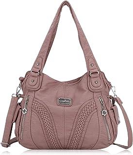 Best Angelkiss Women Top Handle Satchel Handbags Shoulder Bag Messenger Tote Washed Leather Purses Bag Review