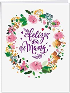Spanish Happy Mother's Day - Big Happy Mothers Day Card with Envelope (Extra Large 8.5 x 11 Inch) - Colorful Flower Garland Greeting Notecard for Mama, Mother Day Stationery Gift J3526MDG
