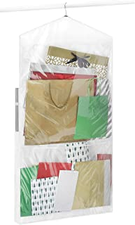 Whitmor 2-Sided Hanging Gift Wrap Organizer, Clear