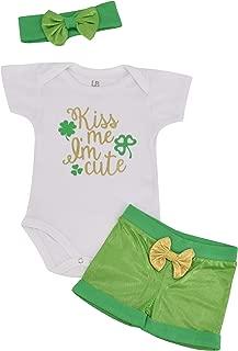 Unique Baby Girls 1st St Patricks Day Kiss Me I'm Cute Layette Set