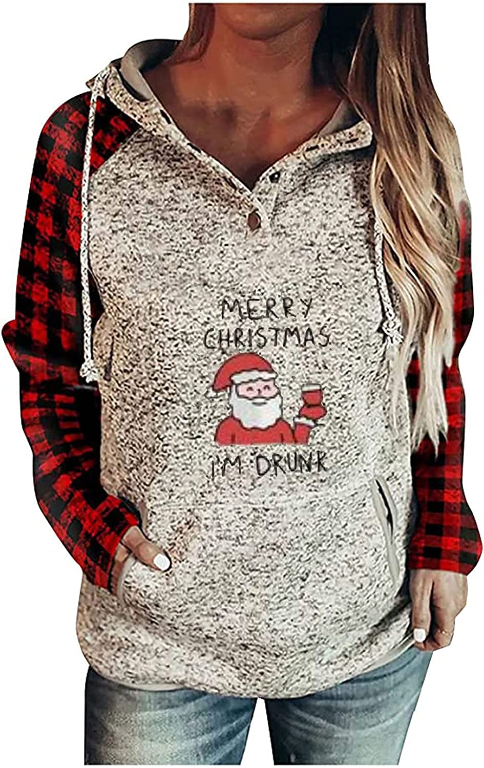 Tunic Sweaters for Women - Merry Christmas & Santa Print Plaid Splicing Hoodie Long Sleeve Comfortable Pullover Buttons Tops Red