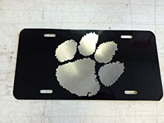 Diamond Etched Clemson Tiger Paw Car Tag on Aluminum License Plate